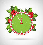 Candy cane clock with holly Royalty Free Stock Photos