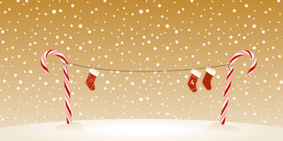 Candy cane clothesline Christmas retro card Royalty Free Stock Photography