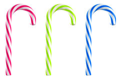 Candy cane colors. Three coloured candy cane isolated stock illustration
