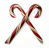 Candy Cane Crossed. Two candy canes crossed over each other Royalty Free Stock Photos