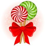 candy cane decorated bow Royalty Free Stock Photo