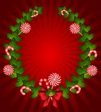Candy cane decorated bow Stock Photos
