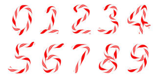 Candy cane font 0-9 numerals Royalty Free Stock Image