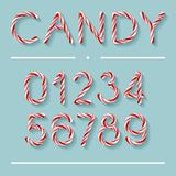 Candy Cane Font - Numbers. Candy Cane Font. Bright twisted red and white lollypop numbers with light grey shadow isolated on spearmint color background vector illustration