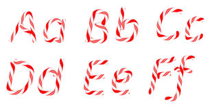 Candy cane font A - F letters isolated Royalty Free Stock Photo