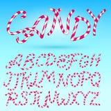 Candy Cane Font Insieme comico dolce di alfabeto Isolato Modello dell'iscrizione Bambini rosa dello zucchero Illustrazione di vet illustrazione di stock