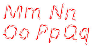 Candy cane font M - Q letters isolated Royalty Free Stock Images