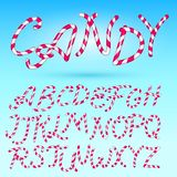 Candy cane Font. Sweet comic Alphabet Set. Isolated. Lettering template. Pink Sugar kids. Cartoon Vector illustration. For party poster or labels. Merry stock illustration