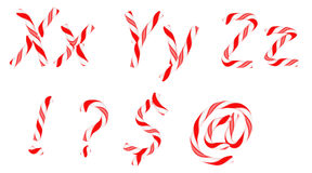 Candy cane font X-Z letters and symbols Stock Images