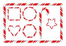 Candy cane frame and more for christmas design isolated on white stock illustration
