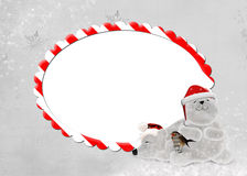 Candy cane frame with polar bears Stock Photos