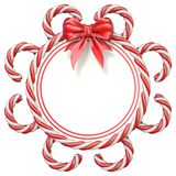 Candy cane frame with ribbon bow 3D. Rendering illustration isolated on white background stock illustration