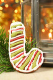 Candy cane gingerbread cookie Royalty Free Stock Photo