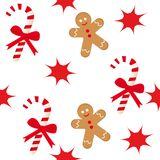 Candy cane and gingerbread man Stock Images
