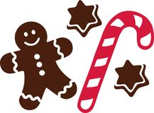 Candy cane with gingerbread man and cookies. Vector royalty free illustration