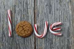 Candy Cane and Gingersnap cookie Stock Images