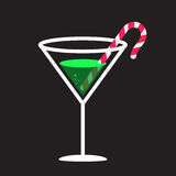 Candy Cane In Glass. Illustration of a candy cane in a martini style glass Stock Photography