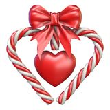 Candy cane, heart and ribbon bow 3D. Rendering illustration isolated on white background vector illustration