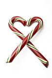 Candy Cane Heart Shape. Two candy canes in the shape of a heart Stock Photos