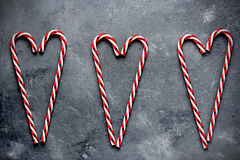 Candy cane hearts holiday background Royalty Free Stock Photography