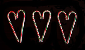 Candy Cane hearts Stock Photo