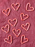 Candy Cane Hearts on Tissue Paper Royalty Free Stock Photo