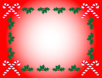 Candy Cane & Holly Frame. Candy canes and holly form a frame on a red background Stock Illustration