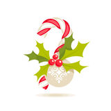 Candy cane and holly Royalty Free Stock Image