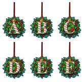 Candy Cane Holly Ornament Alphabet Immagine Stock