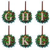 Candy Cane Holly Ornament Alphabet Fotografie Stock Libere da Diritti