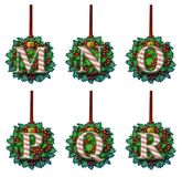 Candy Cane Holly Ornament Alphabet Fotografia Stock