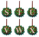 Candy Cane Holly Ornament Alphabet Immagini Stock