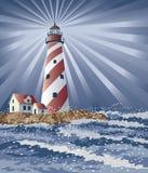 Candy Cane Lighthouse. Illustration of a lighthouse illuminating the night Royalty Free Stock Image