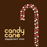 Candy cane made by candies. For Christmas Stock Image