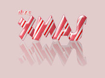 Candy cane merry Xmas Christmas with reflection. Royalty Free Stock Photos