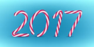 2017 candy cane new year illustration. Stock Image