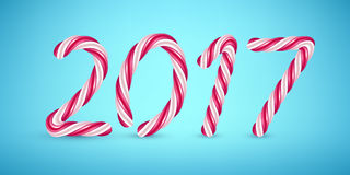 2017 candy cane new year illustration. Hard candy number design Stock Images