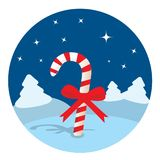 Candy cane in the night forest Stock Images