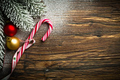 Candy cane and other christmas decoration Royalty Free Stock Photography