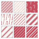 Candy Cane Patterns. A set of simple, seamless patterns with a candy cane theme Stock Photography