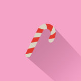 Candy Cane  on Pink Background. Vector Illustration Stock Images