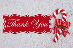 Candy cane on plush gray material with text Thank You royalty free stock images