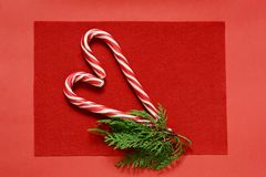Candy cane on a red background in the form of a heart with a sprig of fir. Christmas sweets. Valenti. Candy cane on a red background in the form of a heart with stock photo