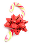 Candy cane with red bow Stock Photo