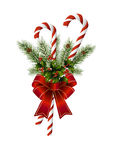 Candy cane and red bow Royalty Free Stock Photos