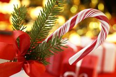 Candy cane. With red ribbon stock image