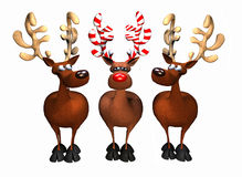 Candy Cane Reindeer. Computer-generated 3D cartoon illustration depicting three reindeer, one with candy cane antlers Stock Photography