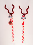 Candy cane reindeers Stock Photography