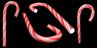 Candy cane selection 1. Traditional holiday candy cane isolated on black Royalty Free Illustration