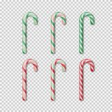 Candy cane set on transparent background. Vector Christmass element. Vector Christmass element. Candy cane set on transparent background royalty free illustration